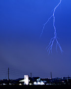 Lightning Bolt Pictures Prints - Fire Rescue Station 67  Lightning Thunderstorm 2C Print by James Bo Insogna