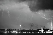 Unusual Lightning Prints - Fire Rescue Station 67  Lightning Thunderstorm Black and White Print by James Bo Insogna