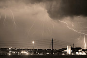 Lighning Prints - Fire Rescue Station 67  Lightning Thunderstorm Sepia Black and W Print by James Bo Insogna
