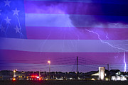 Images Lightning Prints - Fire Rescue Station 67  Lightning Thunderstorm with USA Flag Print by James Bo Insogna