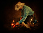Cowboy Photos Prints - Fire Starter Print by Kimberly Chason