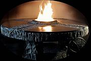 Granite Sculptures - Fire Table With Fire by Jerry Williams