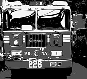 Cities Digital Art Metal Prints - Fire Truck BW3 Metal Print by Scott Kelley