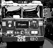 Cities Digital Art Metal Prints - Fire Truck BW6 Metal Print by Scott Kelley