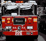 New York City Digital Art Posters - Fire Truck Color 6 Poster by Scott Kelley