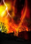 Lightning Digital Art - Fire Whirl by Victor Habbick Visions and Photo Researchers