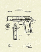 Pistol Drawings Posters - Firearm 1911 Patent Art Poster by Prior Art Design
