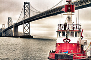 Bay Bridge Prints - Fireboat and Bay Bridge HDR Print by Jarrod Erbe