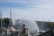 Fireboat Photos - Fireboat Display at the Cove by Margie Avellino