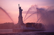 Fireboat Framed Prints - Fireboat Plumes The Statue of Liberty Framed Print by Tom Wurl