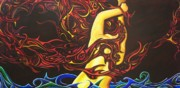 Athletes Painting Originals - Firebrand IV by Audrey N Reda