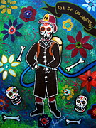 Mariachi Posters - Firefighter Day Of The Dead Poster by Pristine Cartera Turkus