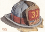 Ken Prints - Firefighter Helmet With Melted Visor Print by Ken Powers