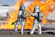 Courage Metal Prints - Firefighters Battle A Simulated Fire Metal Print by Stocktrek Images
