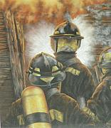 Fire Gear Paintings - Firefighters by Linda  Medders-Jackson