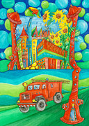 For Kids Paintings - Firefighters by Sonja Mengkowski