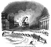 Manhattan Snow Posters - Firefighting, 1845 Poster by Granger