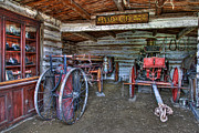 Old West Prints - Firefighting Engine Company No. 1 - Nevada City Montana Ghost Town Print by Daniel Hagerman