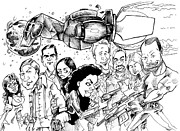 Danger Drawings Prints - FireFly Print by Big Mike Roate
