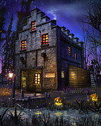 Halloween Mixed Media Prints - Firefly Inn Print by Joel Payne