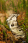 Yellowstone National Park Framed Prints - Firehole Falls LE Framed Print by Greg Norrell