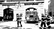 I Heart Ny Framed Prints - Firehouse BW3 Framed Print by Scott Kelley
