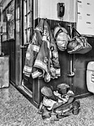 Fire Equipment Framed Prints - Fireman - Always ready - black and white Framed Print by Paul Ward