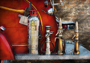 Suburbanscenes Posters - Fireman - An Assortment of Nozzles Poster by Mike Savad