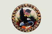 Retired Posters - Fireman - Fire and Emergency Services Seal Poster by Paul Ward