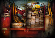 Defender Framed Prints - Fireman - Fire equipment  Framed Print by Mike Savad