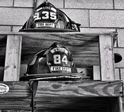 Fire Equipment Framed Prints - Fireman - Fire Helmets Framed Print by Paul Ward