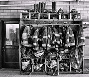 Fire Equipment Framed Prints - Fireman - Jackets Helmets and Boots Framed Print by Paul Ward