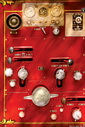 Gauges Posters - Fireman - Levers and Valves  Poster by Mike Savad