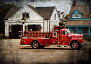 Fire Engine Framed Prints - Fireman - Newark fire company Framed Print by Mike Savad