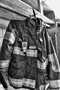 Fire Equipment Framed Prints - Fireman - Saftey Jacket Black and White Framed Print by Paul Ward