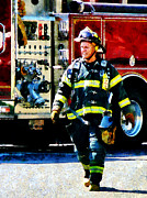 Designs By Susan Prints - Fireman Print by Susan Savad