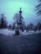 Mount Hope Cemetery Prints - Firemans Monument Infrared Print by Joshua House