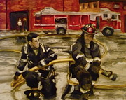 Fire Gear Paintings - Firemen by Kelly S