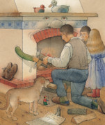 Dog Drawings Prints - Fireplace Print by Kestutis Kasparavicius