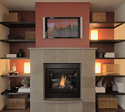 Insert Framed Prints - Fireplace with Flat Screen TV Above the Mantle Framed Print by Andersen Ross