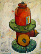 Reductionism Prints Painting Originals - Fireplug Iii by Charlie Spear