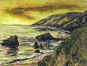 Big Sur Beach Originals - Fires Over Big Sur by Randy Sprout