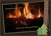 Brown Greeting Cards Prints - Fireside Christmas Greeting Print by DigiArt Diaries by Vicky Browning