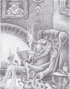 Library Drawings - Fireside Companion by Canis Canon