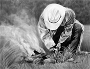 Cowboy Drawing Originals - Firestarter by Geri Dunn