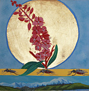 Egg Tempera Prints - Fireweed in Summer Print by Amy Reisland-Speer