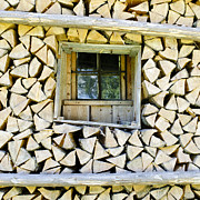 Mountain Cabin Photo Prints - Firewood Print by Frank Tschakert