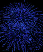 Skylights Posters - Firework Blues Poster by DigiArt Diaries by Vicky Browning