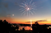4th July Photo Framed Prints - Fireworks and Sunset Framed Print by Amber Flowers