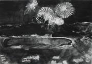 Fireworks Paintings - Fireworks at Eagle Nest Lake...0oohh..aahh.. by Laurie Hill Phelps